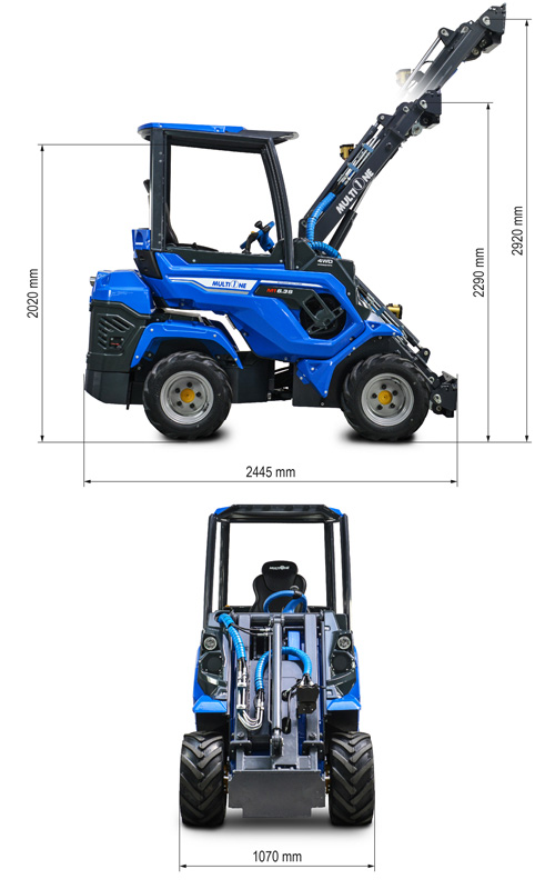 Multione 6.3+ Mini Articulated Loader Lift Height