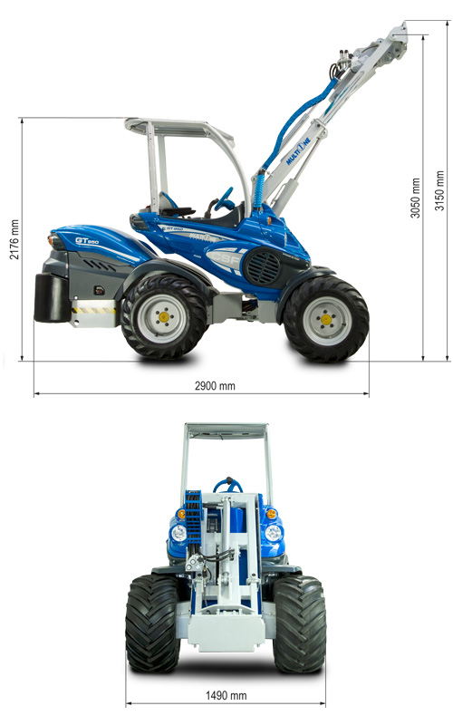 Multione GT960 Mini Articulated Loader Lift Height