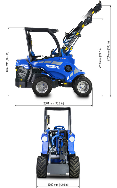 Multione 5.3 Mini Articulated Loader Lift Height