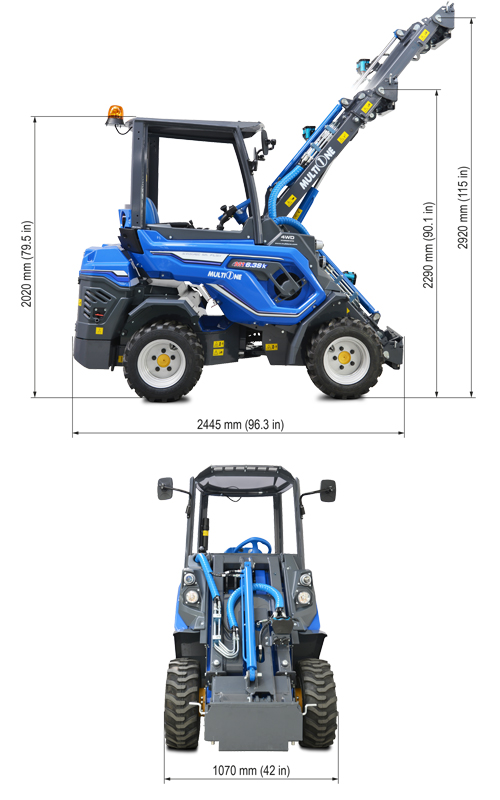 Multione 6.3+ K Mini Articulated Loader Lift Height